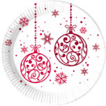 Xmas Red Balls - Paper Plates Large 23cm