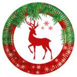 Xmas Scandi Deer - Paper Plates Large 23cm - 88399