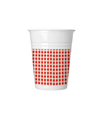 Red, Green, Yellow, Blue Squares - Plastic Cups 200ml Red Squares - 4617