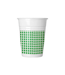 Red, Green, Yellow, Blue Squares - Plastic Cups 200 ml Green Squares - 4619
