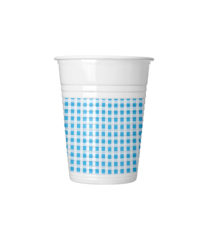 Red, Green, Yellow, Blue Squares - Plastic Cups 200ml Black Squares - 4620