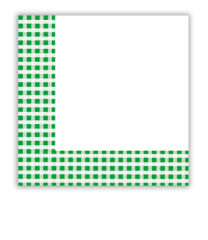 Red, Green, Yellow, Blue Squares - Green Squares Two-ply Paper Napkins 33x33 cm  - 9395