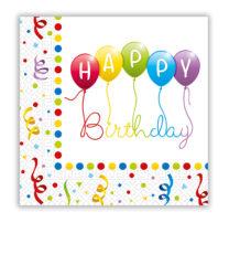 Happy Birthday Streamers - Two-ply Paper Napkins 33x33 cm - 81285