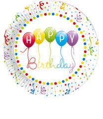 Happy Birthday Streamers - Paper Plates 23 cm - 81843