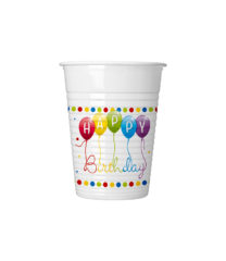 Happy Birthday Streamers - Drinking Cups 200 ml - 81844