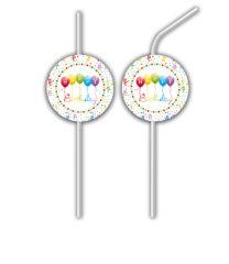 Happy Birthday Streamers - Medallion Flexi Drinking Straws - 81848