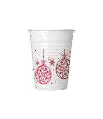 Xmas Red Balls - Plastic Cups 200ml - 81938