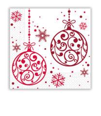 Xmas Red Balls - Three-ply Paper Napkins 33x33cm - 81939