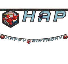 """Ultimate Spider-Man Web Warriors - """"happy Birthday"""" Die-cut Banner - 85163"""