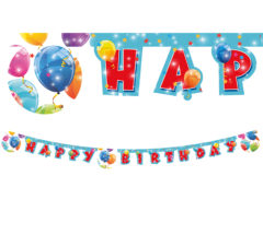 """Sparkling Balloons - """"Happy Birthday"""" Die-cut Banner - 88155"""