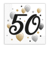 Milestone - Two-ply Paper Napkins 33x33 cm Age 50 - 88868