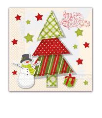 Seasonal Napkin Designs - Quilted Christmas Tree Three-Ply Napkins 33x33 cm - 89458