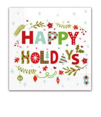 Seasonal Napkin Designs - Happy Holidays Three-Ply Napkins 33x33 cm - 89488