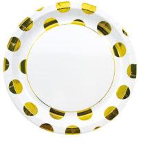 Gold, Rose Gold & Copper - Gold Dots Paper Plates 23 cm - 89540