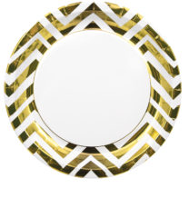 Gold, Rose Gold & Copper - Gold Chevron Paper Plates 23 cm - 89543