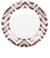 Gold, Rose Gold & Copper - Rose Gold Chevron Paper Plates 23 cm - 89544