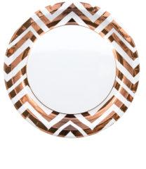 Gold, Rose Gold & Copper - Copper Chevron Paper Plates 23 cm - 89545