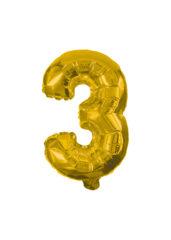Numeral Foil Balloons - 32 cm Gold Foil Balloon No. 3 - 89644