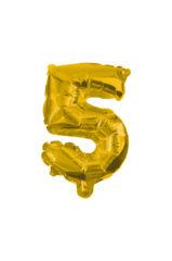 Numeral Foil Balloons - 32 cm Gold Foil Balloon No. 5 - 89646
