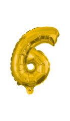 Numeral Foil Balloons - 32 cm Gold Foil Balloon No. 6  - 89647