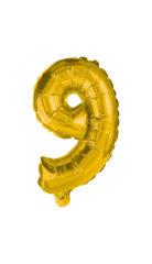 Numeral Foil Balloons - 32 cm Gold Foil Balloon No. 9 - 89650