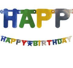 """Garlands - """"Happy Birthday"""" Metallic Die-Cut Banner - 89793"""