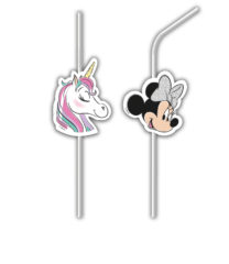 Minnie Unicorn - Medallion Plastic Flexi Drinking Straws - 90341