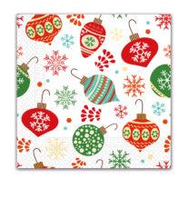 Seasonal Napkin Designs - Christmas Tree Balls Three-Ply Paper Napkins 33x33 cm. - 90437