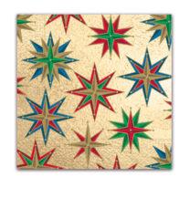 Seasonal Napkin Designs - Shinny Christmas Stars Three-Ply Paper Napkins 33x33 cm. - 90538