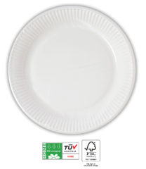 White Compostable Products - Home Compostable White Paper Plates 23 cm FSC - 90640