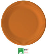 Solid Color Compostable - Industrial Compostable Paper Plates Large 23cm (Orange) - 90881