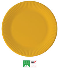 Solid Color Compostable - Industrial Compostable Paper Plates Large 23cm (Yellow) - 90883