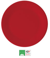 Solid Color Compostable - Industrial Compostable Paper Plates Large 23cm (Red) - 90886