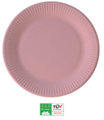 Solid Color Compostable - Industrial Compostable Paper Plates Large 23cm (Pink) - 90889