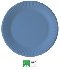 Solid Color Compostable - Industrial Compostable Paper Plates Large 23cm (Light Blue) - 90892