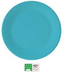 Solid Color Compostable - Industrial Compostable Paper Plates Large 23cm (Turquoise) - 90895