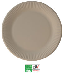 Solid Color Compostable - Industrial Compostable Paper Plates Large 23cm (Tortora) - 90903