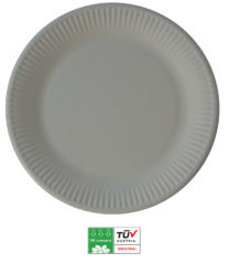 Solid Color Compostable - Industrial Compostable Paper Plates Large 23cm (Grey) - 90905