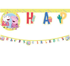 "Peppa Pig Messy Play - ""Happy Birthday"" Die-Cut Banner - 91103"