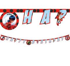 """Miraculous Ladybag - """"Happy Birthday"""" Die-Cut Banner - 91350"""