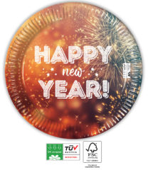 Happy New Year Compostable - Industrial Compostable Paper Plates 23 cm FSC - 91464