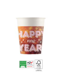 Happy New Year Compostable - Industrial Compostable Paper Cups 200 ml FSC - 91465