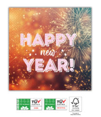 Happy New Year Compostable - Home & Industrial Compostable Three-Ply Napkins 33x33 cm FSC - 91466