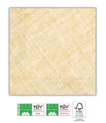 Solid Color Compostable - Home & Industrial Compostable Yellow Three-Ply Napkins 33x33 cm FSC - 91495