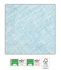 Solid Color Compostable - Home & Industrial Compostable Turquoise Three-Ply Napkins 33x33 cm FSC - 91497