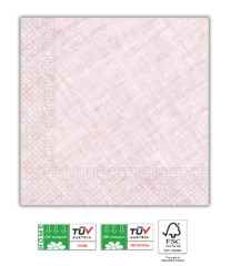 Solid Color Compostable - Home & Industrial Compostable Pink Three-Ply Napkins 33x33 cm FSC - 91499