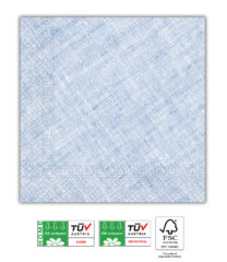 Solid Color Compostable - Home & Industrial Compostable Blue Three-Ply Napkins 33x33 cm FSC - 91500