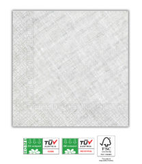 Solid Color Compostable - Home & Industrial Compostable Grey Three-Ply Napkins 33x33 cm FSC - 91501