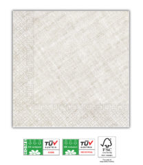 Solid Color Compostable - Home & Industrial Compostable Tortora Three-Ply Napkins 33x33 cm FSC - 91503