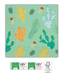 Cacti Compostable - Home & Industrial Compostable Three-Ply Paper Napkins 33x33cm FSC - 91504